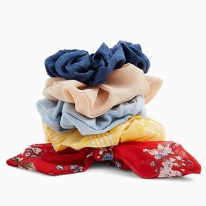 Red Floral Bow Hair Tie Pack Set of 5 Scrunchies